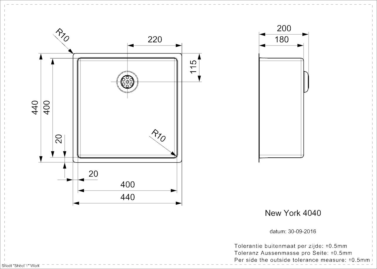 New York 40x40 - technische tekening