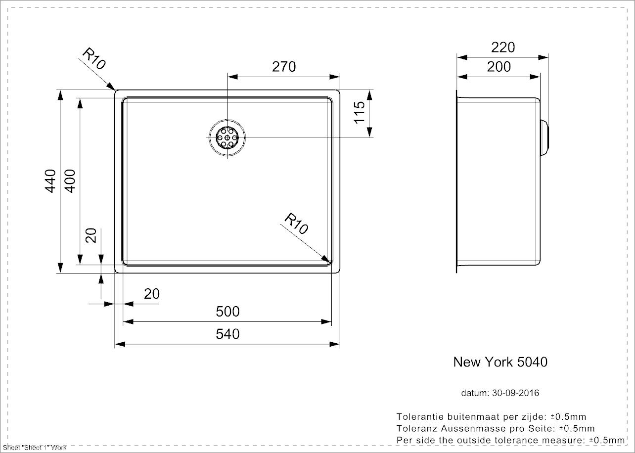 New York 50x40 - technische tekening